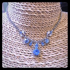 Vintage Crystal silver blue choker necklace